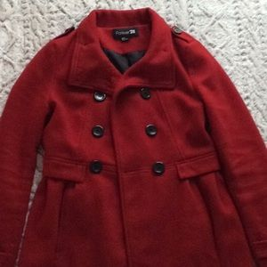 Forever21 Red military style pea coat